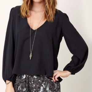 Lovers + Friends Black Blouse